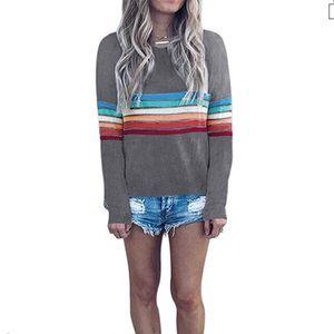 NEW Amazon grey rainbow striped sweater